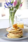 Image of pumpkin pancakes, accompanying the recipe