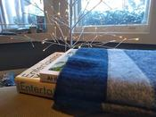 Photo of two books tucked into a  knitted cozy against a backdrop of a minimalist tree bedecked with white lights.