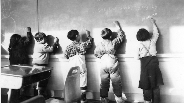 Inuit students at the Joseph Bernier School, Chesterfield Inlet, 1956.