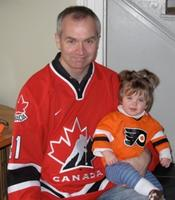 Jamie Fitzpatrick and daughter in hockey colours