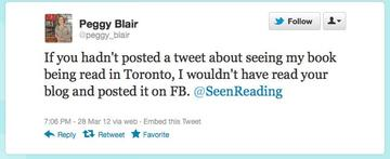 Peggy Blair and Seen Reading (aka Julie Wilson) got to know each other on Twitter, which resulted in this interview.