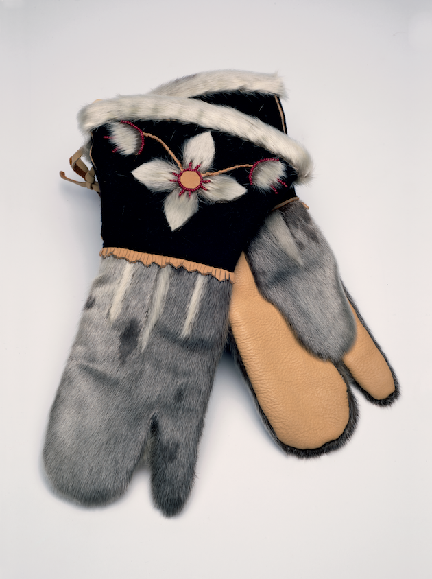 RHODA VOISEY Skin and Hide Gauntlet Mittens, ca. 1998
