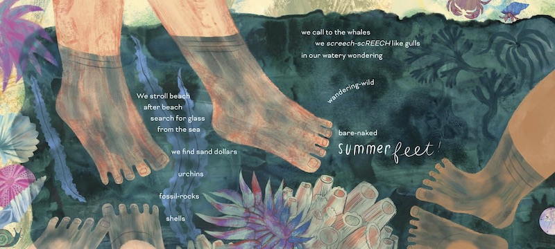 Spread from Summer Feet, by Sheree Fitch and Carolyn Fisher